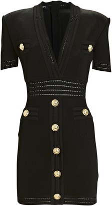 Balmain Knit V-Neck Button Dress