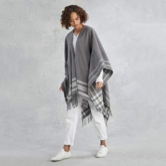 The White Company Wool Stripe Cape, Grey, One Size