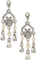Carolee Silver-Tone Crystal and Imitation Pearl Mini Chandelier Earrings