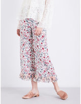 See by Chloe Ladies White Floral Modern Floral-Print Wide-Leg Crepe De Chine Trousers
