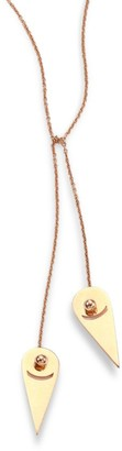 ginette_ny Mrs. Joe 18K Rose Gold Mini Lariat Necklace