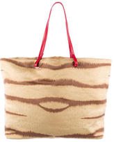 Valentino Leather-Trimmed Printed Tote