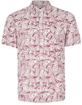 Topman White Waves Print Short Sleeve Casual Shirt