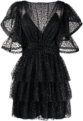 Alberta Ferretti Glittered Ruffled Dress