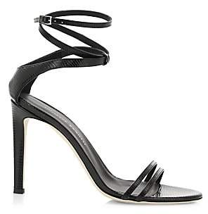 Giuseppe Zanotti Women's Catia Ankle-Wrap Lizard-Embossed Leather Sandals