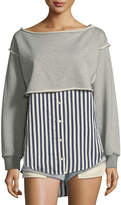 Alexander Wang Boat-Neck Long-Sleeve Terry Stripe Combo Pullover