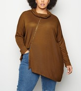 New Look Blue Vanilla Curves Asymmetric Cowl Neck Top