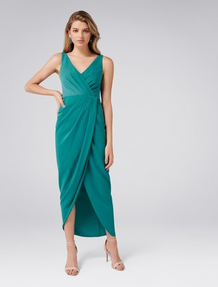 Forever New Victoria Petite Wrap Dress - Teal Ribbon - 4