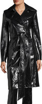 Helmut Lang Pleasure Patent Leather Belted Trench Coat