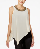 Amy Byer Juniors' Embellished Asymmetrical Top