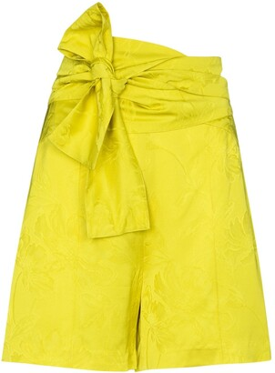 Silvia Tcherassi Bow-Detail Floral-Jacquard Shorts