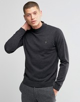 Farah Jumper In Merino Wool With Turtle Neck In Slim Fit Grey
