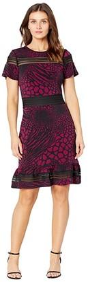 MICHAEL Michael Kors Animal Mesh MX Short Sleeve Dress (Dark Ruby) Women's Clothing