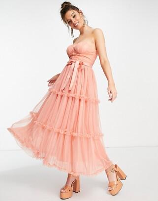 Forever U sweetheart bardot midaxi dress in peach