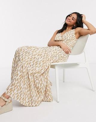 Qed London foil print maxi dress