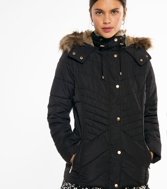 New Look Faux Fur Hood and Lining Fitted Puffer Jacket