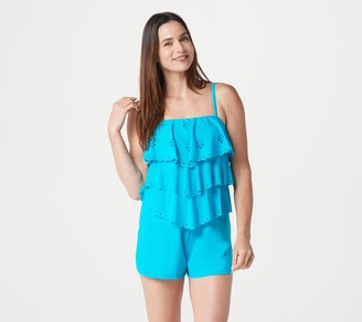 Fit 4 U Laser-Cut V-Tiered Bandeau Romper