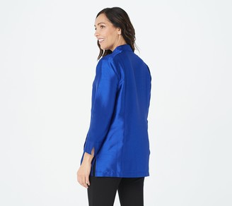 Linea by Louis Dell'Olio Faux Shantung Band Collar Jacket