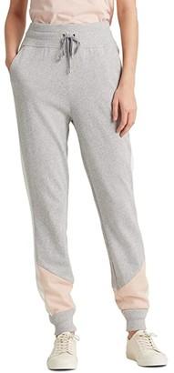 Lauren Ralph Lauren Petite Three Tone French Terry Pants (Pearl Grey Heather/Pink Hydrangea/Mascarpone Cream) Women's Casual Pants