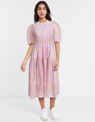 And other stories & printed puff sleeve midi dress in pink