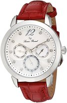 Lucien Piccard Women's 'Rivage' Quartz Stainless Steel and Leather Casual Watch, Color:Red (Model: LP-40038-02MOP-RDS)