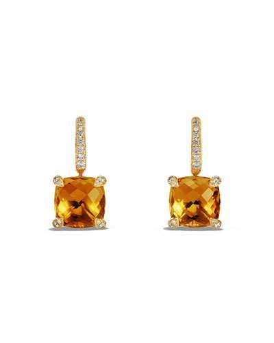 David Yurman Châtelaine Faceted 18K Gold Earrings With Citrine & Diamonds