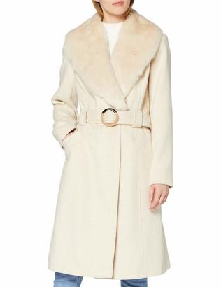Miss Selfridge Women's Faux Fur Belted Coat Wool Blend