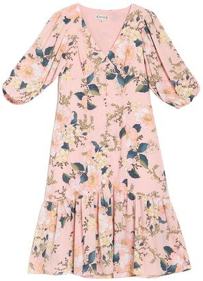 Nanette Nanette Lepore Long Sleeve Floral V-Neck Dress