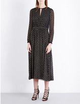 Burberry Jennifer metallic polka-dot silk-blend dress