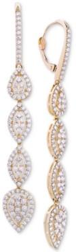 Wrapped in Love Diamond Teardrop Cluster Drop Earrings (2 ct. t.w.) in 14k Gold, Created for Macy's