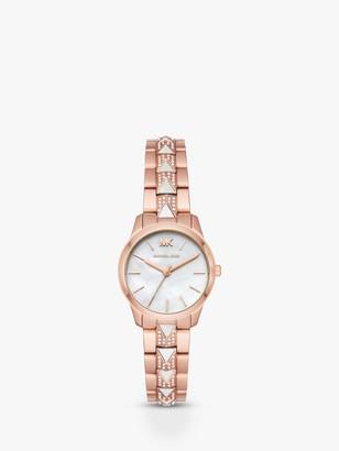 Michael Kors MK6674 Women's Mini Runway Bracelet Strap Watch, Rose Gold/White