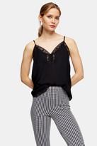 Topshop Womens Black Lace Button Cami - Black
