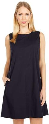Eileen Fisher Petite Zip Neck Knee Length Dress (Ink) Women's Clothing
