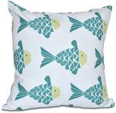 "Fish Tales, Animal Print Pillow, Teal, 16""x16"""