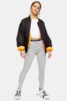 Topshop Womens Petite Grey Marl Branded Elasticated Leggings - Grey Marl