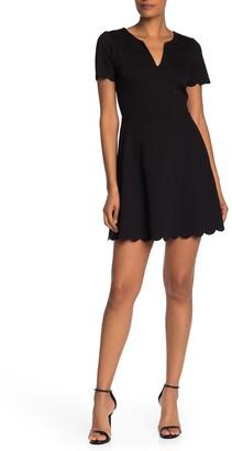 Socialite Short Sleeve Scalloped Ponte Dress