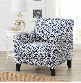 Velvet Plush Printed Form Fit Stretch Chair Slipcover