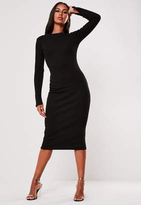 Missguided Tall Black Ribbed Long Sleeve Midi Dress
