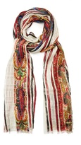 Etro Paisley-print striped silk scarf
