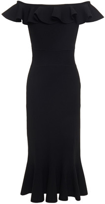 Alexander McQueen Off-the-shoulder Fluted Ribbed-knit Midi Dress