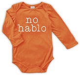 Urban Smalls Orange 'No Hablo' Long-Sleeve Bodysuit - Infant