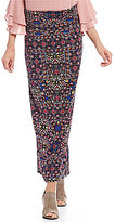 I.N. Studio Pull-On Floral Maze Print Skirt