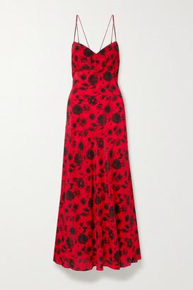 Les Rêveries Floral-print Silk Crepe De Chine Maxi Dress - Red