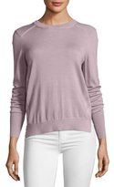 Burberry Meigan Long-Sleeve Crewneck Check-Side Sweater, Pink