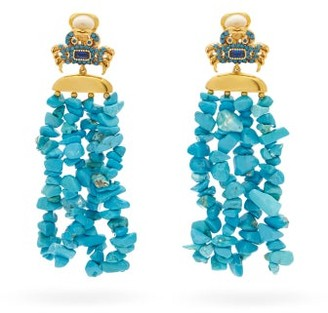 BEGÜM KHAN Patmos King Crab Gold-plated Drop Clip Earrings - Blue