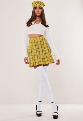 Missguided Hayden Williams X Yellow Check Pleat Hem Chain Mini Skirt