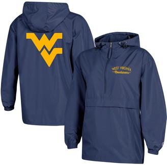 Champion Women's Navy West Virginia Mountaineers Packable Half-Zip Light Rain Jacket