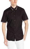 Just Cavalli Men's Crinkle Short Sleeve Woven with Printed Trim