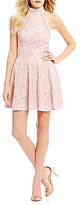 B. Darlin Mock Neck Lace Fit-And-Flare Dress