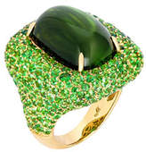 Margot McKinney Jewelry Marbella Green Tourmaline Cabochon Ring in 18K Gold, Size 6.5
